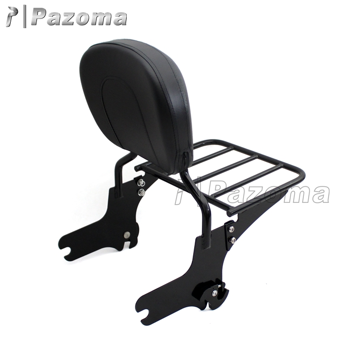 Wholesale Price Black Detachable Passenger Backrest Motorcycle Sissy Bar With Luggage Rack For 97-08 Harley Touring