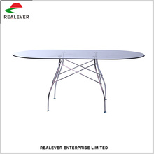 2017 Modern furniture chromed steel oval glass top dining table