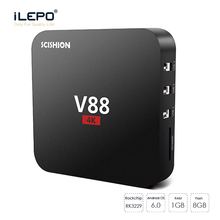 V88 TV Box Rockchip Rk3229 Rk3368 Quad Core 1G 8G Android 6.0 OTT kd 4K 3D Mini Media Player