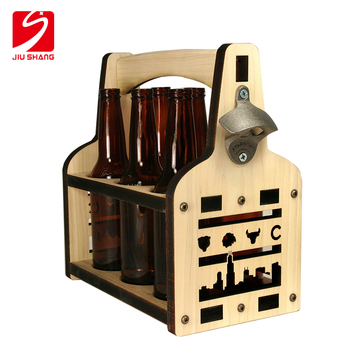 wholesale personalized vintage tote wooden bottle carrier with bottle opener for 6 packs use