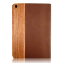 Wooden and leather case real wood back cover leather holster for ipad 5