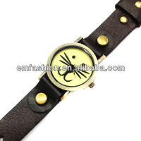 Vintage cow leather watch punk cute cat face watch women bracelet watch