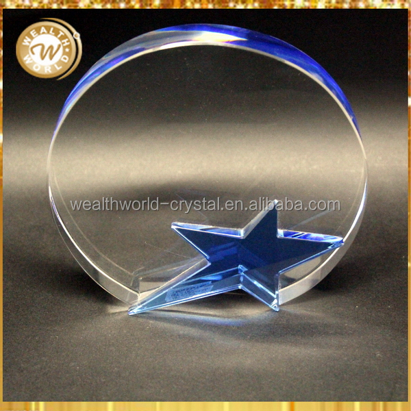 Bottom price best sell 2016 glass crystal star awards