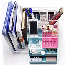 5 Compartments, 2 Files Storage Boxes Clear Acrylic Organizers with 2 Drawers for Office Staff/Student