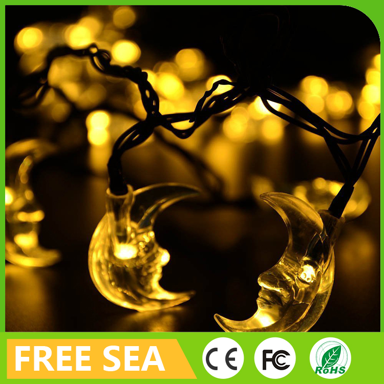 Solar power 20 led ramadan decorations moon shape party string lights