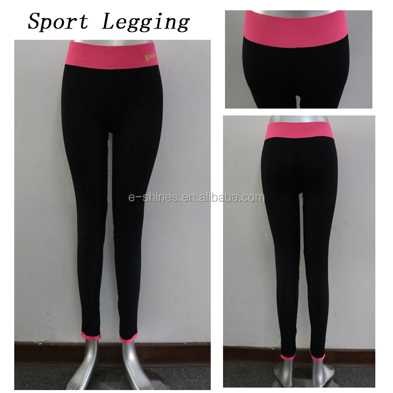 Sport Ladies Gym Fitness Workout Outfits Tights Leggings Fashionable Nylon Spandex Yoga Waistband Stitching Outfits Pants For