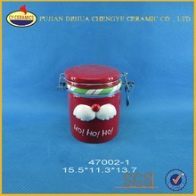 Wholesale airtight ceramic canister or jar with Christmas Santa statue lid