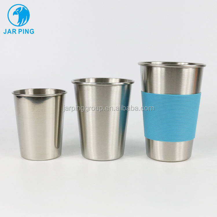 Metal Cups Ideal Beer Pints Mug Stainless Steel Single Wall Coffee Mugs / milk Cups with Silicone band JP-6001-29