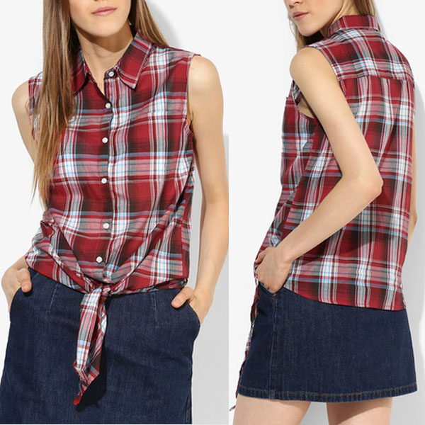 Women casual black and red check shirts design tops for girls