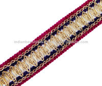 Purple Pink Metallic Braid Style Ribbon Trim Thread Cord Border Lace Craft Sewing India
