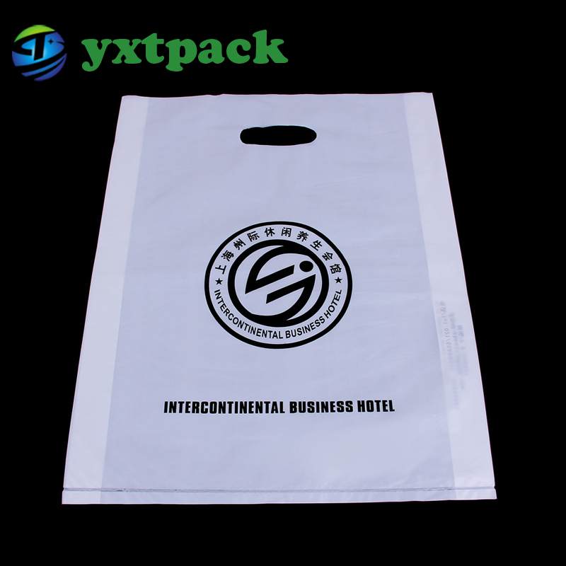 China wholesale patch handle ldpe die cut large clear plastic bags with your own design logo