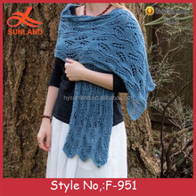 F-951 new ladies fashion lace crochet knitted shawl scarves functional soft cheap baby shawl for 2017