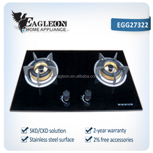 EGG27322 73cm Vietnam temper glass built-in 2 burner gas stove/ gas cooker/ gas hobs, double brass burners, copper gas pipe