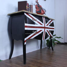 Antique Black Classic Union Jack Solid Wood French Chest of Drawers
