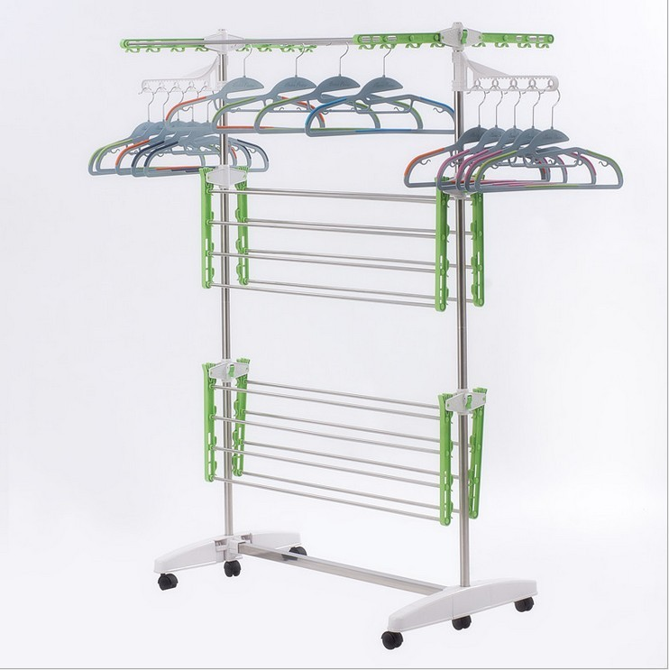 JP-CR208 Korean popular Mobile ABS plastic stainless steel three layer clothes drying rack hanger airer horse