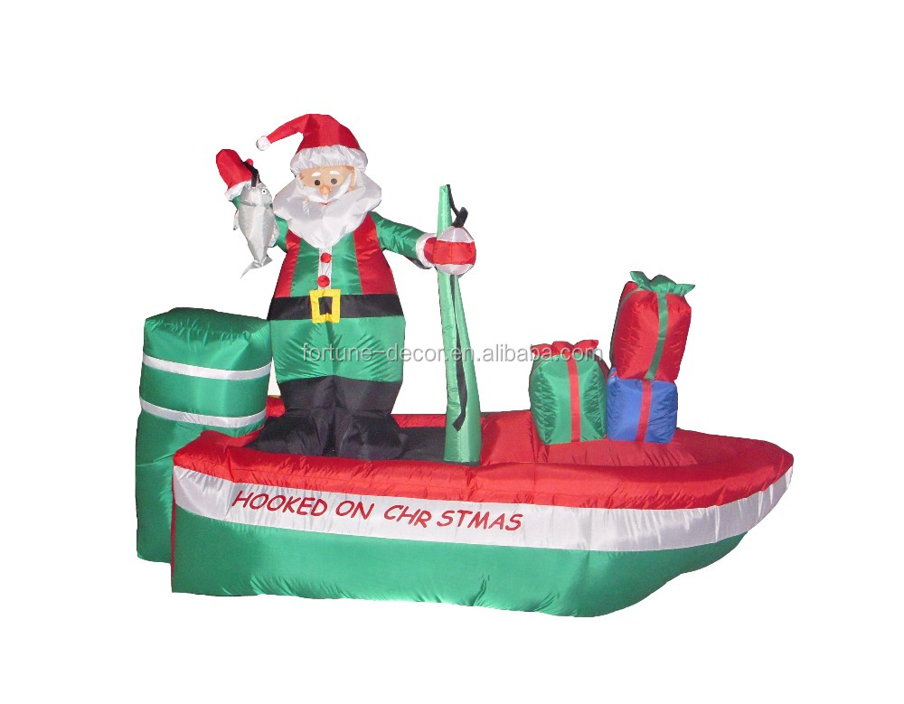 2015 NEW product 240cm/8FT inflatable santa drives a motorboat and fishes for Christmas