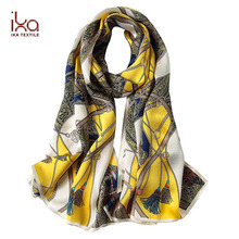 UV Protection Chain Pattern Custom Printed Women Korean Silk Satin Scarf Beach