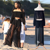 Smocking design ruffled sleeve off shoulder boho clothing wholesale two piece set fashion tops and transparent wide leg pants