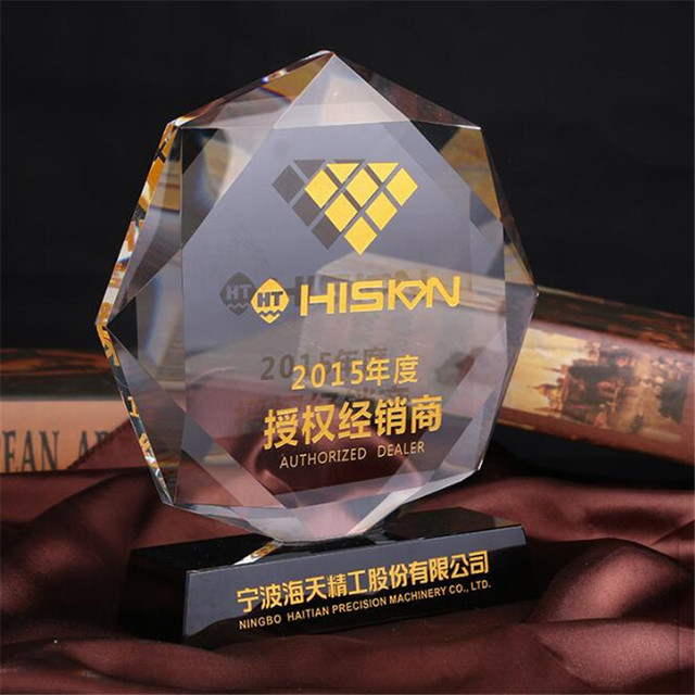 New design handmade Octagon crystal trophy plaques medals trophy