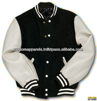 Black Body With White Leather Sleeves College 2014 Latest Design Jacket