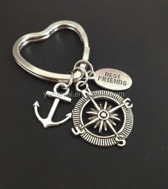 2016 Hot sale wholesale silver color custom metal best friends compass keyring