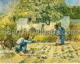 Van Gogh and baby lady farmer ploughing oil painting