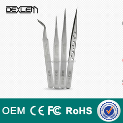 DELE-10 Professional On Anti-Magnetic Anti-Acid Not-Corrosive Tweezers Stainless Curved Tip Tweezers