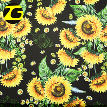 Bulk production wholesale 75D polyester flower design pleated chiffon printed fabric for maxi dress