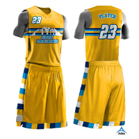 Custom made sublimation yellow basketball jersey and shorts