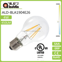 3 year guaranteeCE Rosh ERP SAA UL GS approved A19/A60 4.8W Dimmable led filament bulb