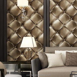 Modern 3D Home Decoration Wallpaper PVC Luxurious Leather Decorative Wall Covering
