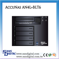 Sans Digital AccuNAS AN4L+BLT6 64bit NAS+Backup Appliance Dual GB with LTO6 Build-in NAS Storage