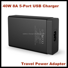 Fast multiple convenient 40W 5-Port Family USB charger smart phones ipads