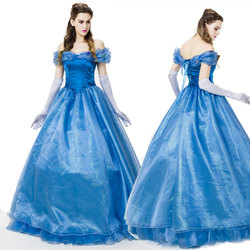 Fairy tale film Cinderella princess dress blue dress princess adult cosplay stage performance costumes