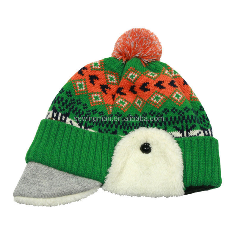 fashion winter knitted pompom earflap beanie hat with polar fleece