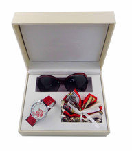 China supplier hot selling attractive cheap wholesale sunglasses and scarves lady promotional watch gift set