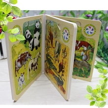 Custom Educational Kids Wooden Jungle Animal Jigsaw Puzzle Book