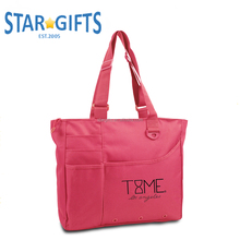 Promotional Durable Zippered Large Capacity 600D Polyester Tote Bag For Office Lady