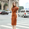 Woman Short Sleeves Knee Length Camel Skinny Dress