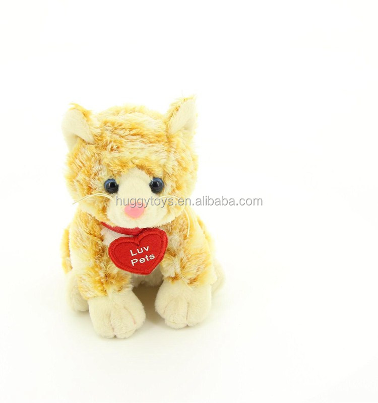 top quality plush cat toys red heart stuffed plush toys love pets
