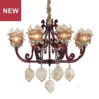 China supplier product Rose Gold 8 Lights Metal colored glass flower chandelier