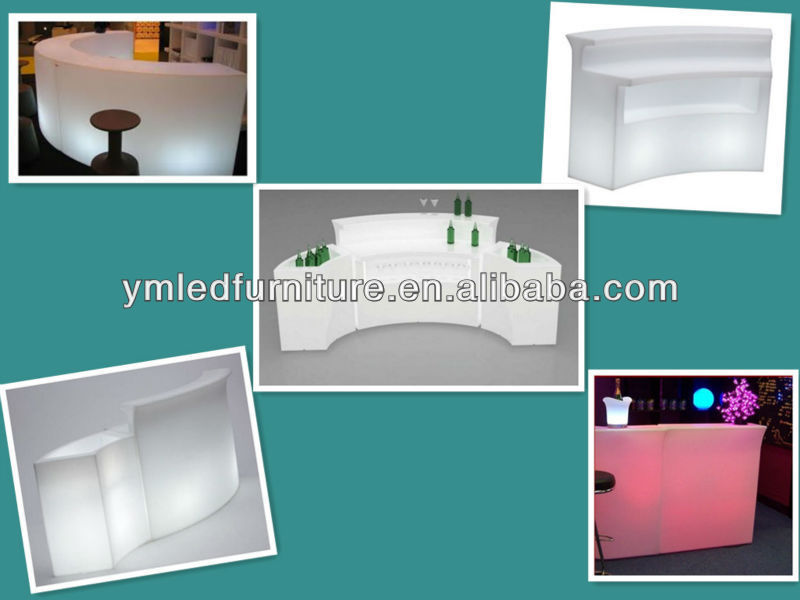 Portable bar counter set for party / plastic outdoor furniture / wedding bars pub / led coffee table YM-LBT9080123