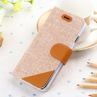 Postoral style dual colors for iphone 6 woven grain leather wallet case