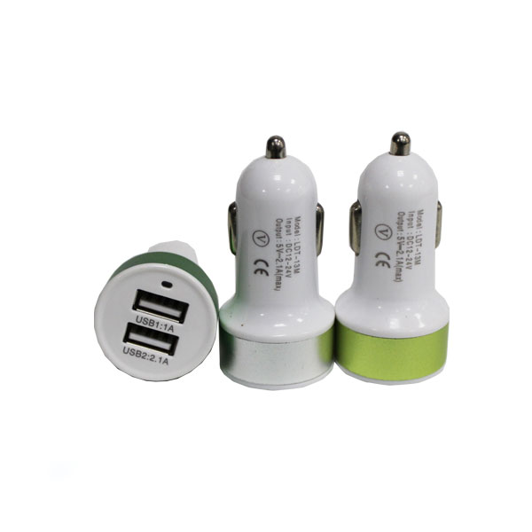 Multi purpose custom logo 2 usb port car charger for mobile phone