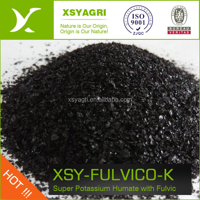 Green organic fertilizer quick release super shiny flake Potassium Humate fulvic acid with 12% K2O