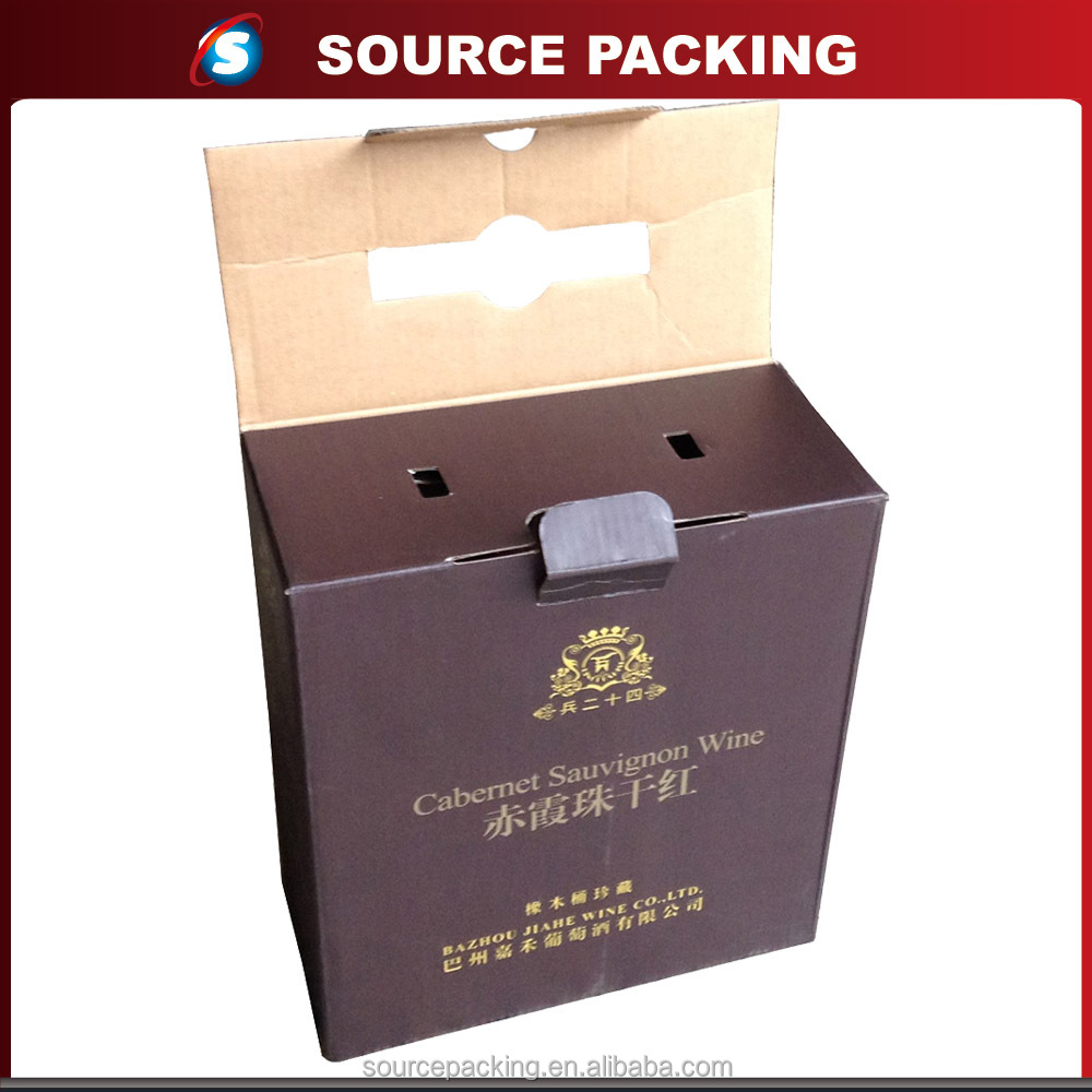 Decorative folding 2 bottle wine gift packaging box wholesale with plastic handle and auto lock bottom