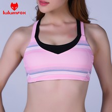 2001-1 Detachable Brassiere 87%POLYESTER 13%SPANDEX Cross Back Striped Bulk Sports Bras