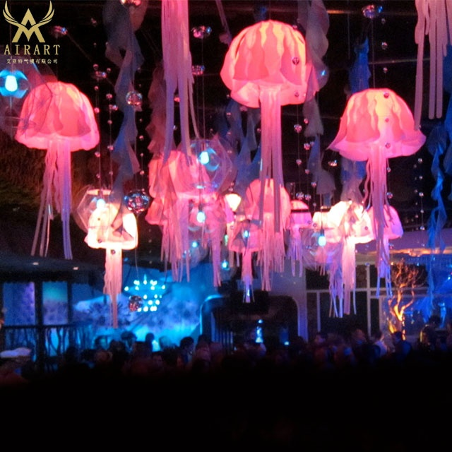 Lighting <strong>Inflatable</strong> Octopus Models / Giant <strong>Inflatable</strong> LED Hang Jellyfish for Party Decoration
