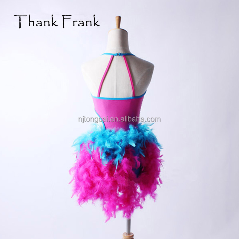 customized feather flower sexy camisole latin dress dance