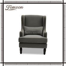 Retro Upholstered European Style Living room antique wooden wing back nailhead trim chair